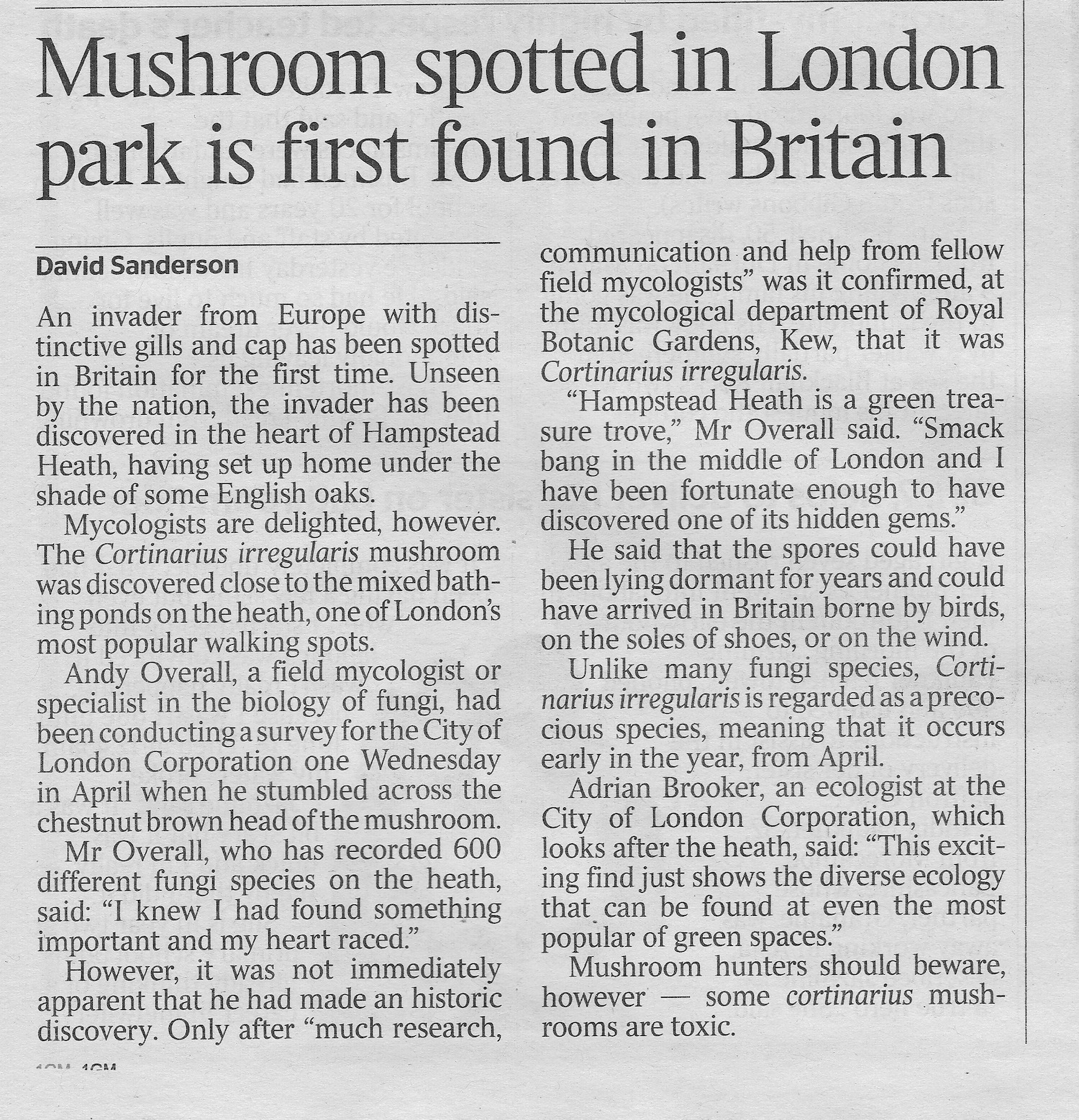 Times Article-Cortinarius irregularis-05:06:2014  1